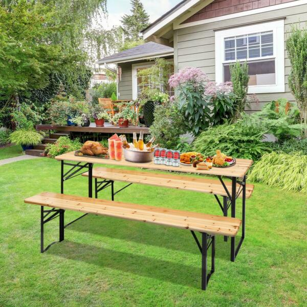 3 Piece Outdoor Wood Picnic Table Beer Bench Dining Set Folding Wooden Top Patio $129.99