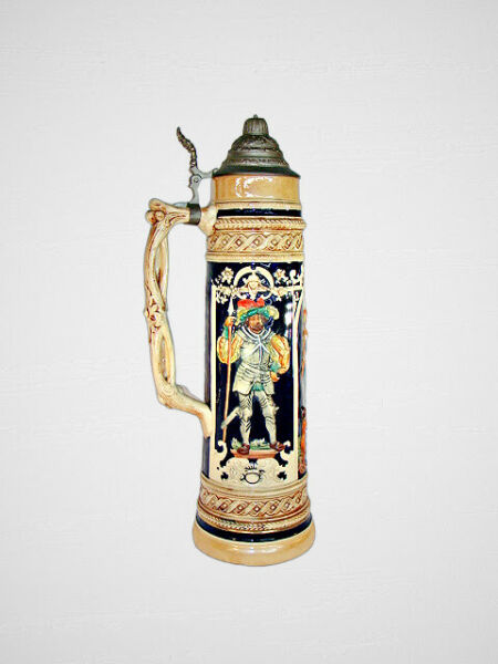 Antique Beer Stein Extra Large 21quot; 1880s 1910s Art Nouveau Made in Germany