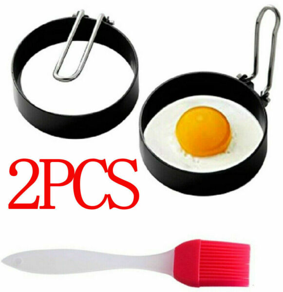 2x Nonstick Pan Fried Egg Shaper Stainless Steel Pancake Mould Ring Cooking Tool