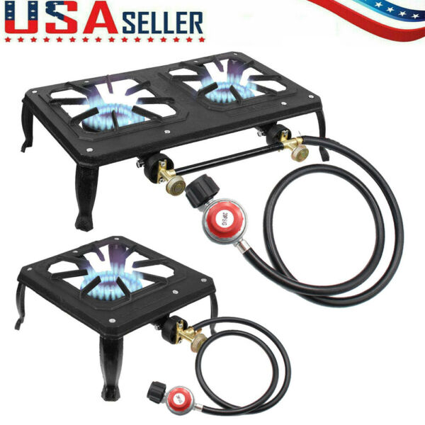 Portable Propane Burner Gas Cooker Outdoor Camping Stove Grill w Regulator Hose
