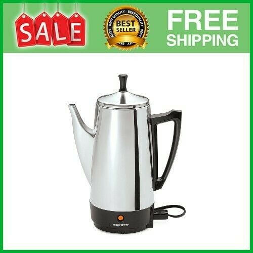 12 Cup Coffee Percolator Coffee Maker Pot Stainless Steel Electric Portable