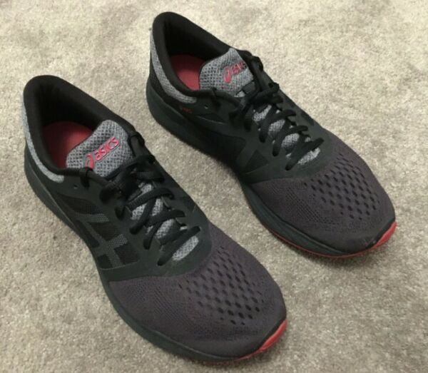Mens Running Shoes Black Red Lace Up Low Top Size 9.5