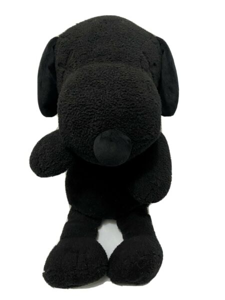 KAWS Solid Black Plush Snoopy Dog Large 20quot; Tall Stitched X Eyes Uniqlo $29.99