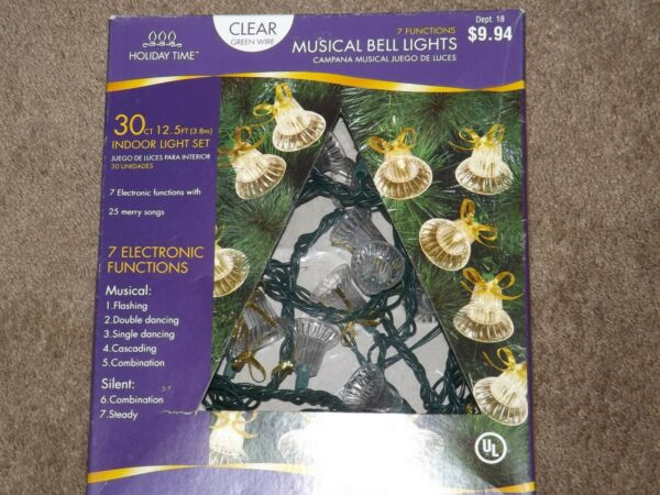 Holiday Time Musical Bell Lights Set 30Ct 25 Songs Indoor Set Clear Green Wire $20.00
