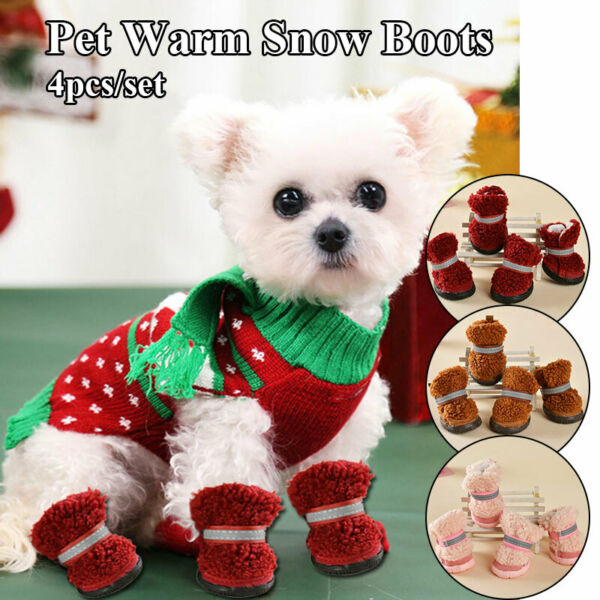 Pet Snow Boots Wear resistant Snow Boots Dog Snow Boots Solid Color Snow Boots $11.92
