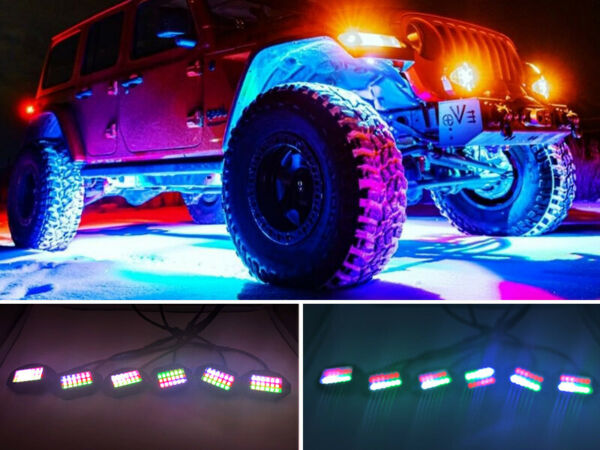 6x Chasing Color LED Rock Lights Pods Lights Under For Truck Underbody Bluetooth $116.56