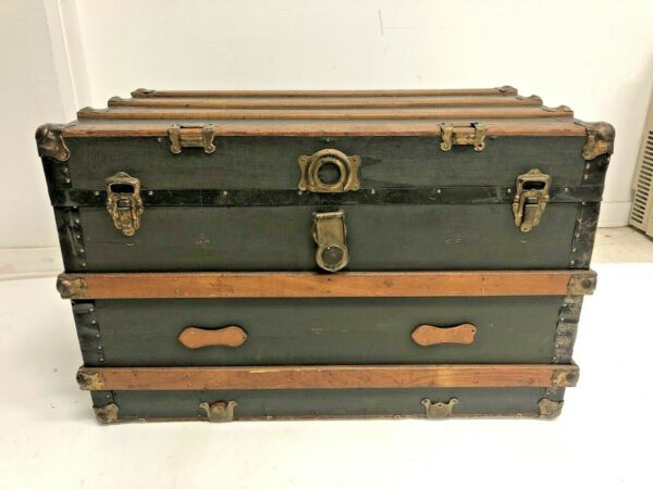 Vintage WOOD STEAMER TRUNK w Tray chest coffee table storage box luggage antique $139.99