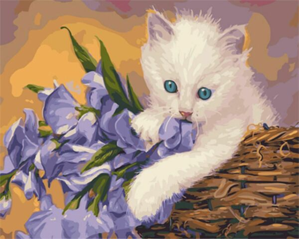 Cat Painting By Number Kit Paint Number DIY Dogs And Canvas Paint Oil Flowers $15.03