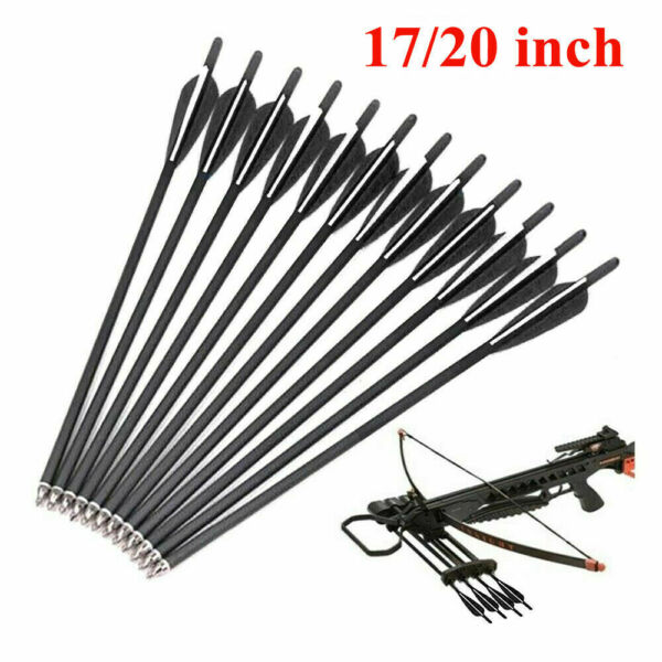12pcs 17 20 inch Crossbow Bolts Carbon Arrow Target Hunt OD 8.8mm With 4quot; vanes $26.69