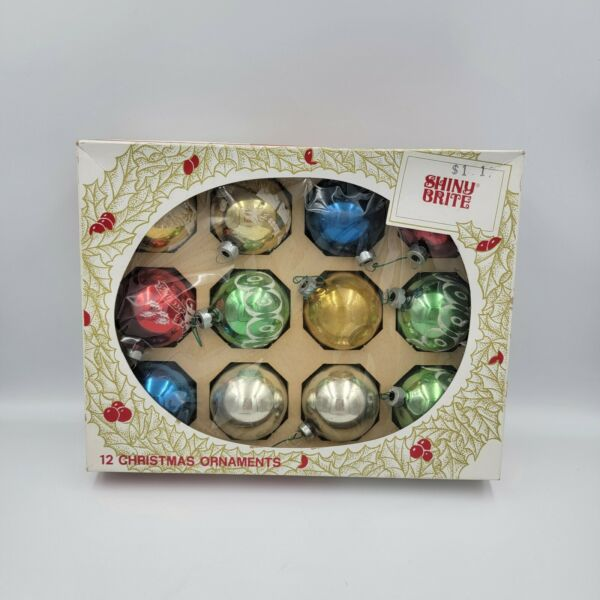 Vintage Box of 12 Shiny Brite Christmas Tree Ornaments Various Types in Box #2