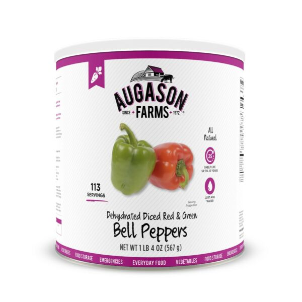 Augason Farms Dehydrated Diced Red amp; Green Bell Peppers 1 lb 4 oz No. 10 Can