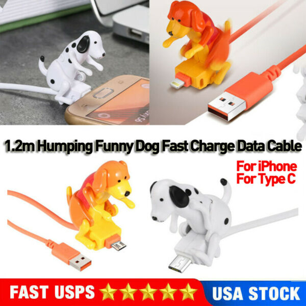 1.2m Humping Funny Dog Fast Charge Cable For iPhone Type C Smartphone Data Cord $10.89