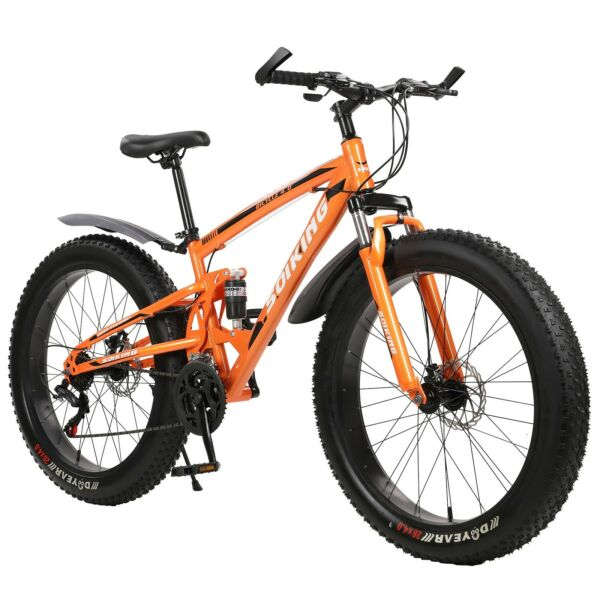 26quot;Fat Tire Mountain Bike Men Bicycle High Carbon Steel Frame Outdoor Road Bike $412.59