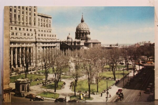 Canada Quebec Dominion Square St James Cathedral Postcard Old Vintage Card View