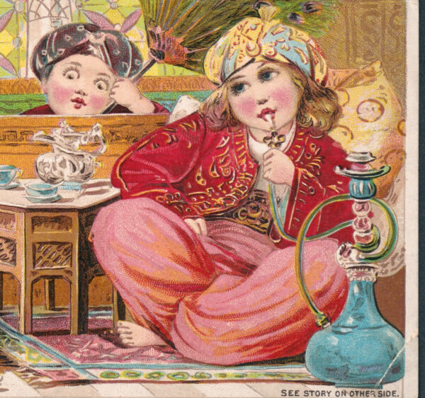 Antique Hookah 1894 old Victorian Coffee Trade Card Sinbad the Sailor Fairy Tale
