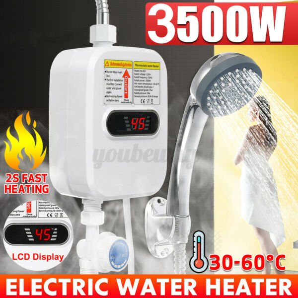 3500W Instant Electric Bathroom Hot Water Heater Whole House With Shower Head $47.49