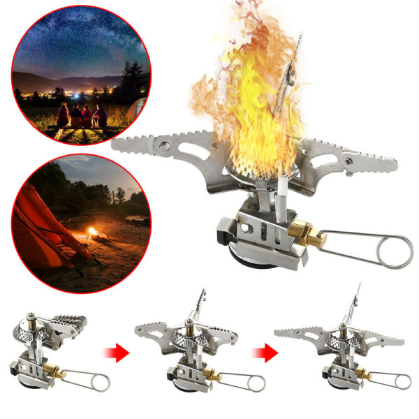 Camping mini gas burner outdoor stove travel heater for picnic survival foldable $12.85