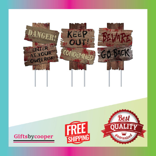 Decorations Beware Signs Yard Stakes Outdoor Assorted Warning Sign Scary $18.99