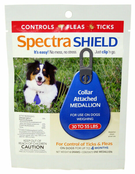 Spectra Shield collar medallion 4 Month flea tick control Dogs over 30 55 lbs. $14.38