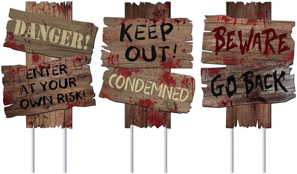 Halloween Decorations Beware Signs Yard Stakes Outdoor Creepy Assorted Warning S $17.99