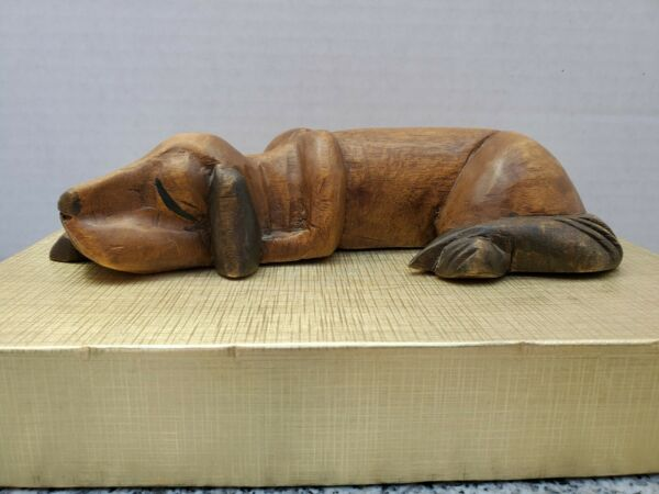 Carved Wood Dog Sleeping Napping Hound Figurine 8 3 4quot; long