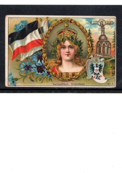 VERY EARLY GERMAN PATRIOTIC COFFEE TRADE CARD GREAT GRAPHICS