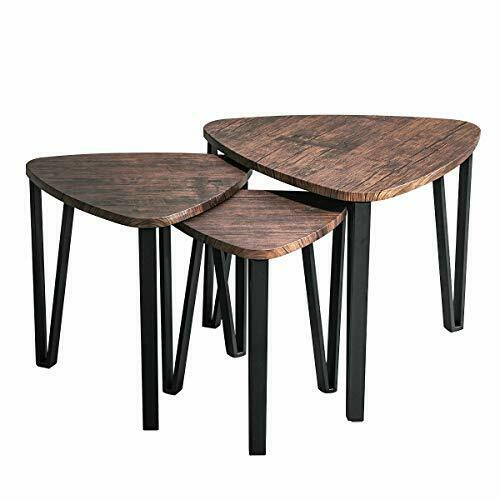Industrial Nesting Tables Living Room Coffee Table Sets of 3 Stacking End Side..
