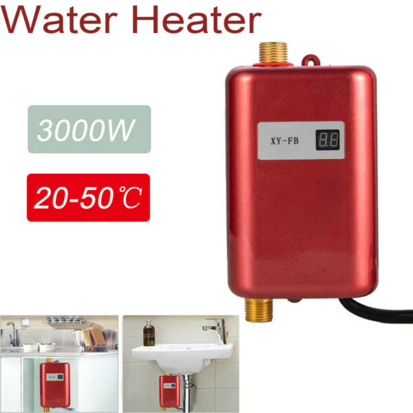 3000W Electric Water Heater Tankless Water Heater Shower Kitchen Tap Faucet 110V $62.23