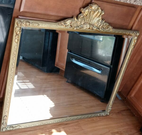 Antique wall mirror gold ornate gilt wood Large Heavy Beautiful beveled glass