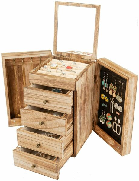 Jewelry Box Wood for Wowen 5 Layer Large Organizer Box with Mirror amp; 4 Drawers $50.57