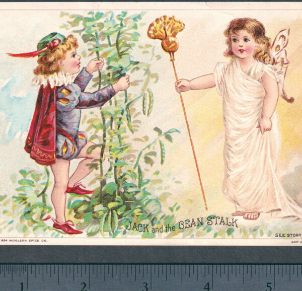 Jack amp; the Bean Stalk 1894 Victorian Fairy Woolson Spice Lion Coffee Trade Card