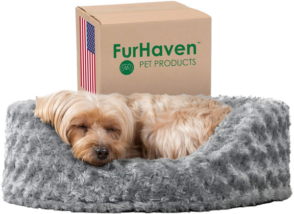 Furhaven Round Pet Beds for Small Medium and Large Dogs Snuggery Dog Bed wit $28.99