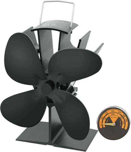 Heat Powered Wood Stove Fan with 4 Blade Quiet Fireplace Wood Burning Eco Frien