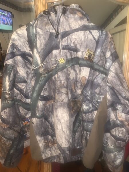 MAD DOG GEAR mens large CAMO DUCK HUNTING CAMOUFLAGE Pull Over Warm JACKET $25.00
