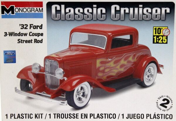 AMT #x27;32 Ford 3 Window Coupe Street Rod Classic Model Kit 1:25 Scale Open Box