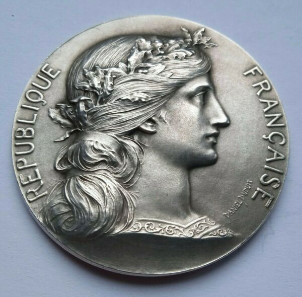 MILITARY INSTRUCTION FRENCH MARIANNE SOLID SILVER MEDAL by DUPUIS