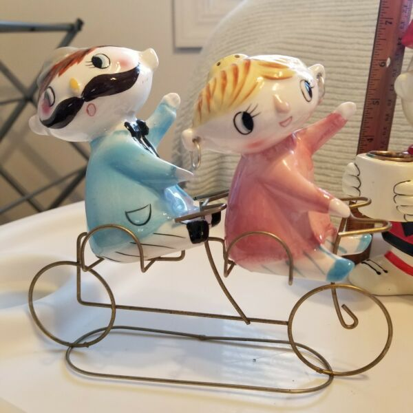 Bicycle salt and pepper shakers man and woman 1960s tandem bicycle for 2 $50.00