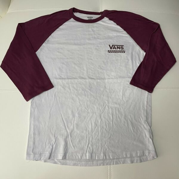 VANS Off The Wall 3 4 Sleeve Ringer Shirt Women#x27;s XL Extra Large White Red $9.99