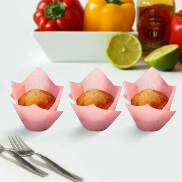 1Packs Tulip Muffin Wrappers Large Cupcake Paper Liners Baking Cup Holder