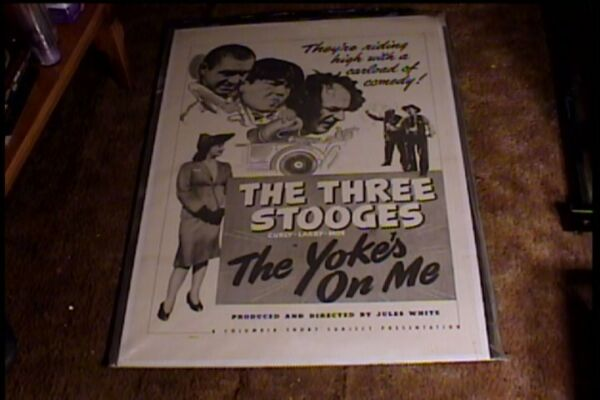 YOKES ON ME ORIG MOVIE POSTER '42 CURLY 3 STOOGES LINEN