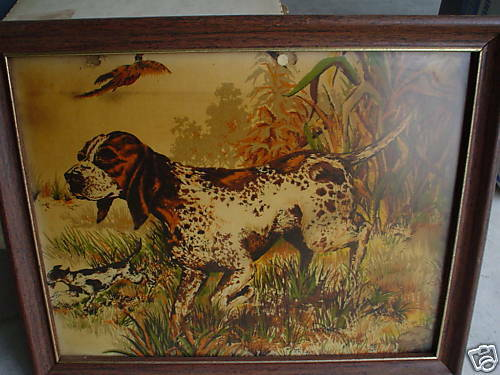 Vintage Print on Cloth of Pointer Dog LOOK $24.00