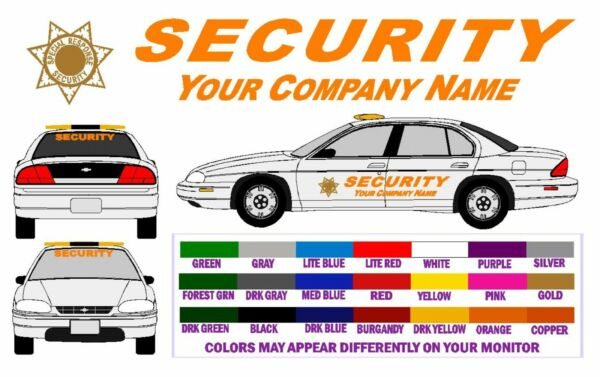SECURITY VEHICLE SUPER DLX LETTERING DECALS - FREE SHPN