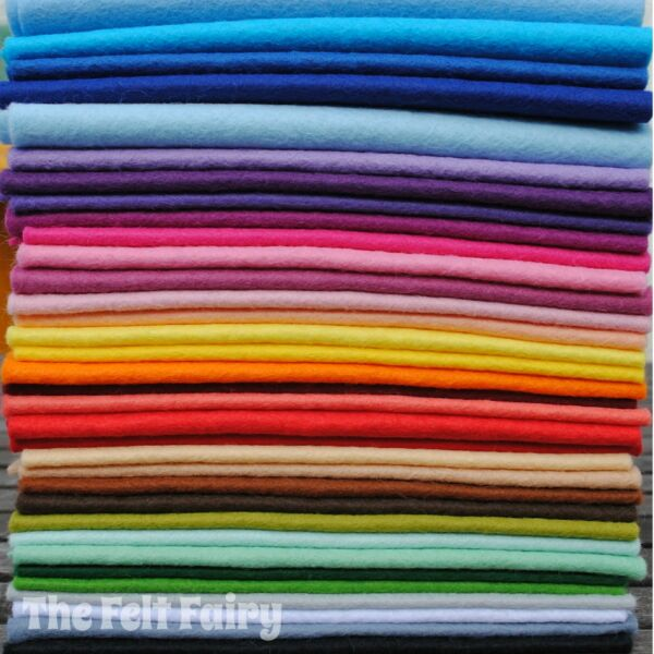 Wool Mix 9 inch Felt Square x 35 Rainbow Stash Booster!