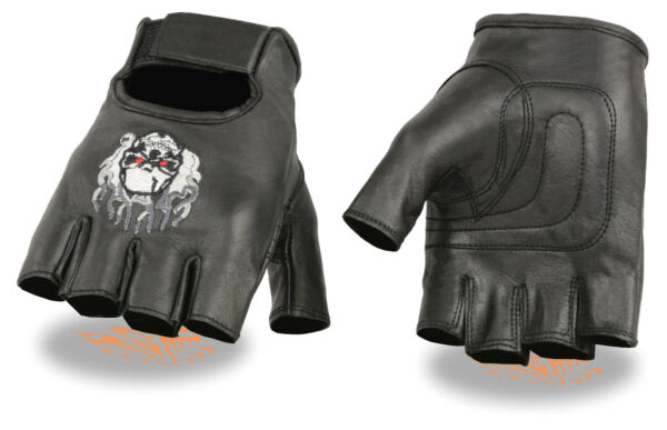 Men#x27;s Leather Skull amp; Flame Embroidered Motorcycle Fingerless Glove w Gel Palm $12.99