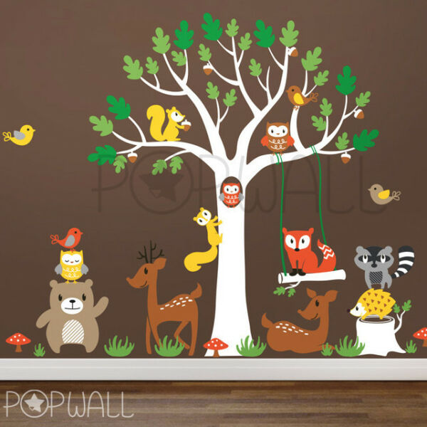 Woodland Tree with Lots of Animals Children Playroom Nursery Wall Decal