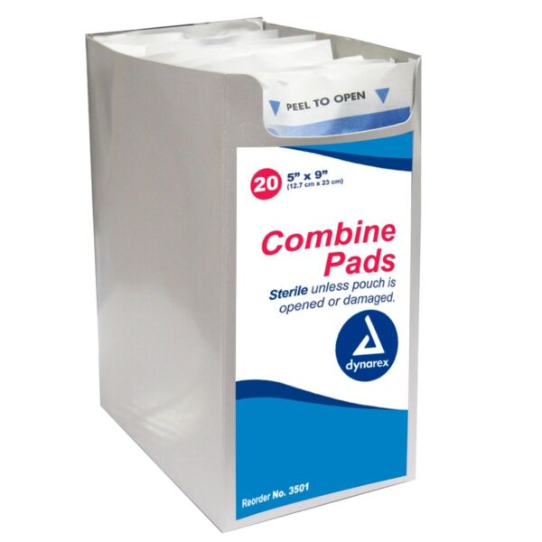 20 Abdominal Combine Pads 5x9 Bandages Sterile Wound Dressing Drain Dynarex 3501