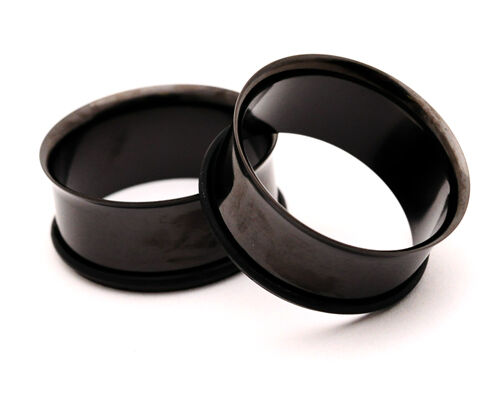 Pair of BLACK Steel Single Flare Tunnels set gauges plugs PICK SIZE