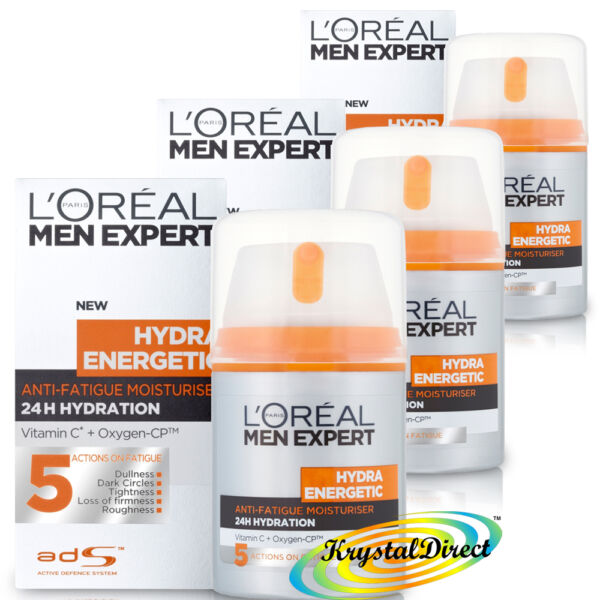 3x Loreal L'oreal Men Expert Hydra Energetic Anti Fatigue Moisturiser 50ml