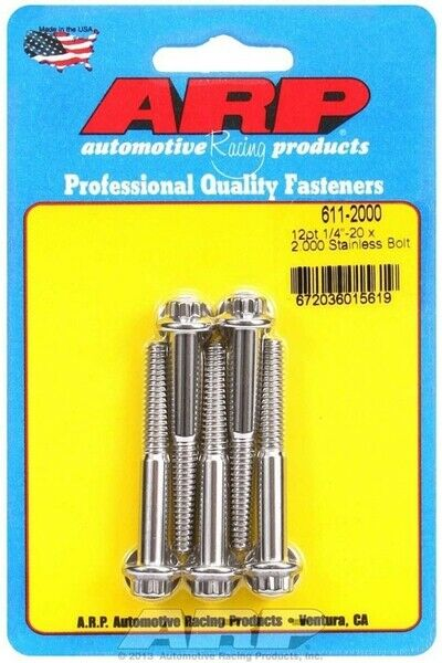 ARP 611 2000 Stainless 300 Steel Bolts Polished