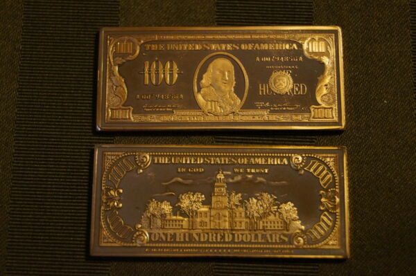 Collectible Token Bar Federal Reserve 100 Dollars Copper Plated Challenge Coin
